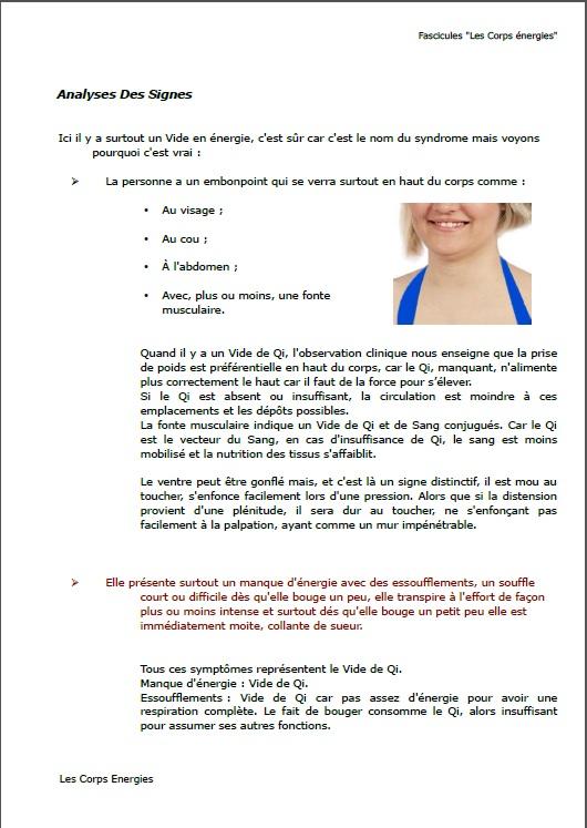 Page de démonstration du fascicule N° 2 de la Gestion du Poids par la médecine chinoise