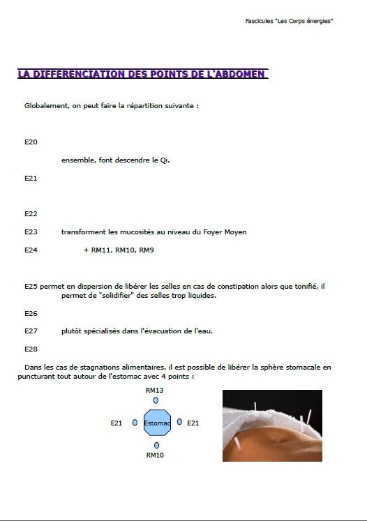 Page de démonstration du fascicule N° 5 de la Gestion du Poids par la médecine chinoise