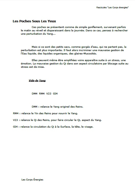 Page de démonstration du fascicule N° 5 lifting énergétique par la médecine chinoise